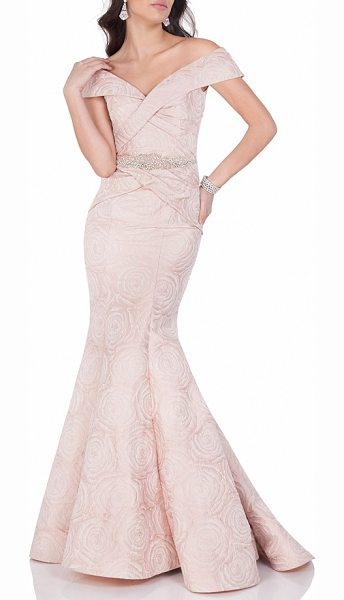 TERANI COUTURE embellished floral jacquard mermaid gown in blush - A pleat-sculpted bodice featuring a stunning...