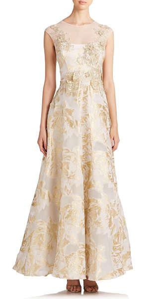 Teri Jon Appliquéd floral gown in gold - Flowers, flower everywhere, from the embroidered...