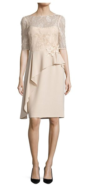 TERI JON asymmetrical peplum sheath dress in champagne - Floral lace bodice accents draped peplum sheath....