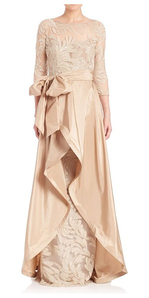 Teri Jon beaded three-quarter sleeve gown in champagne - Elegant gown with wrap-style overlay. Boatneck....