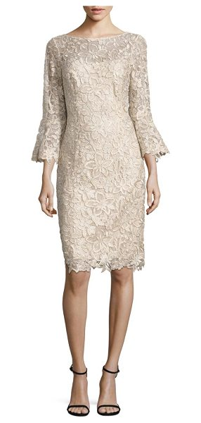 Teri Jon bell-sleeve lace sheath dress in champagne - Figure-flattering silhouette cut from striking floral...