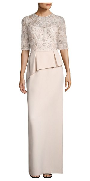 TERI JON embellished lace peplum gown in blush - An embellished lace overlay adds exquisite style to this...