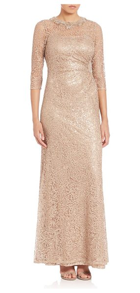 Teri Jon Embellished metallic lace gown in gold - Shimmering lace on a sheer background gets extra glamour...