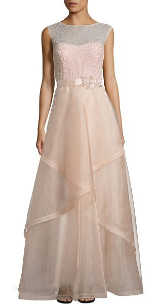 Teri Jon embellished tulle ball gown in blush champagne
