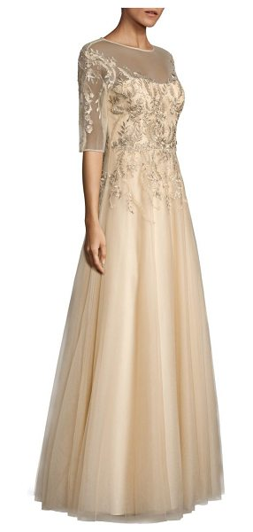 Teri Jon embroidered illusion gown in gold - Elegant A-line gown with tonal floral embroidery....