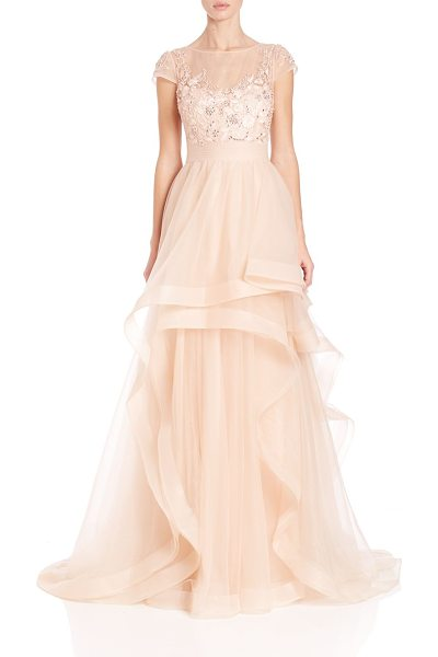 Teri Jon illusion lace asymmetrical ball gown in peach - Dramatic asymmetrical skirt balances illusion-lace...