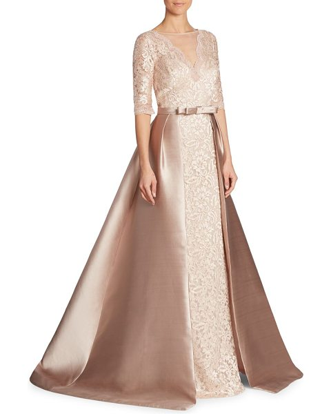 Teri Jon illusion v-neck lace gown in blush - Exquisite floral lace covered in marvelous sheen of...