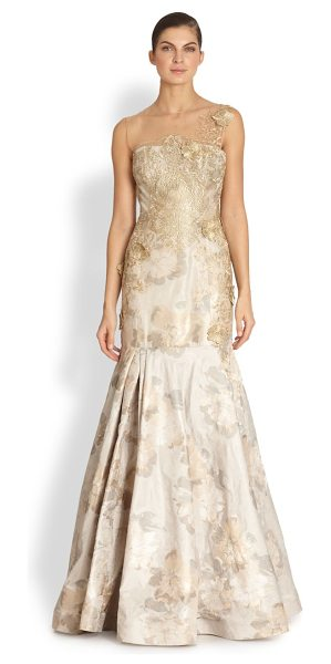 TERI JON Jacquard trumpet gown - Detailed with floral appliqués cast against watercolor...