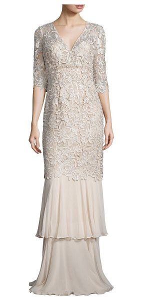 TERI JON lace mermaid gown in champagne - Slim floral lace gown ends in flowing, tiered...