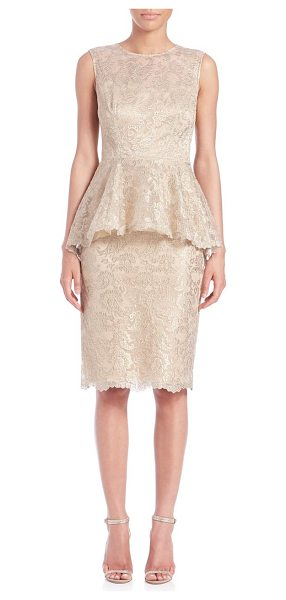 Teri Jon Lace peplum sheath in gold - A ruffled peplum transforms this form-flattering lace...