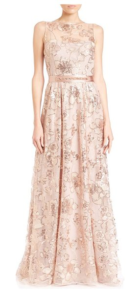 Teri Jon Lace sleeveless gown in gold - Belted lace gown with shimmery jeweled...