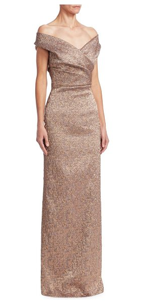 Teri Jon off-the-shoulder column gown in bronze - Gleaming column gown defined by jacquard texture....