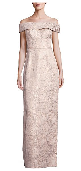 Teri Jon off-the-shoulder gown in champagne - Elegantly embossed polyester-blend gown....