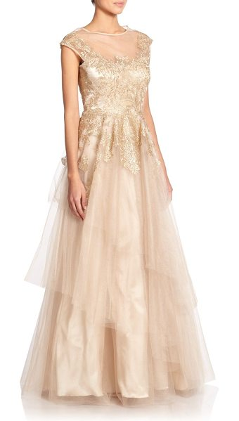Teri Jon Embroidered tulle gown in gold - Airy tulle panels and shimmering embroidery elevate this...