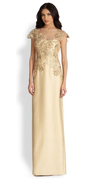 Teri Jon Lace-applique gown in gold - Gilded lace applique was carefully placed on this Teri...