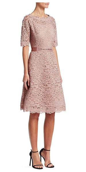 Teri Jon lace flared dress in softpink - Pretty scalloped edges define this romantic feminine...