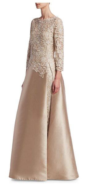 TERI JON lace slit underlay gown - Elegant lace bodice details extend down through the...