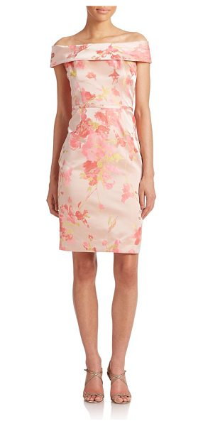 Teri Jon Off-shoulder sheath dress in coral - A spellbinding portrait collar tops this elegant,...