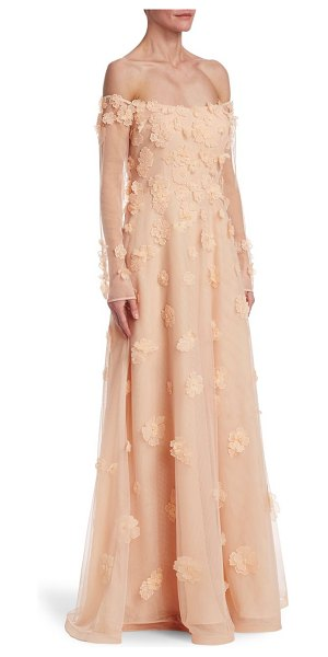Teri Jon off-the-shoulder gown in peach - Floral embellished gown in off-the-shoulder style....