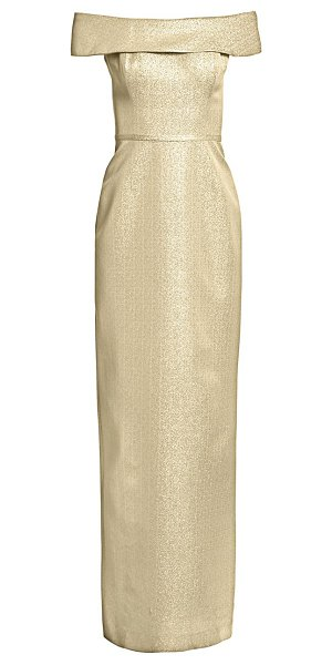 Teri Jon off-the-shoulder metallic jacquard gown in gold