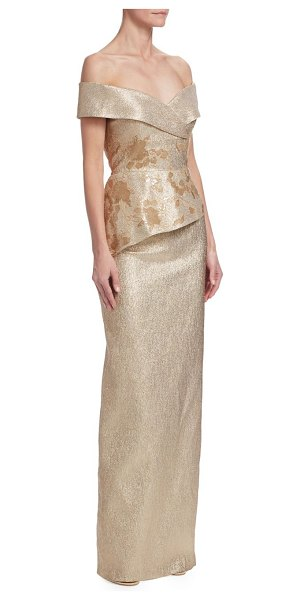 TERI JON off-the-shoulder metallic jacquard gown in gold - Elegant jacquard metallic gown. Off-the-shoulder...