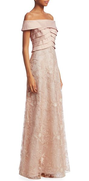 Teri Jon off-the-shoulder sequin gown in peach - Stunning gown detailed with a pleated off-the-shoulder...