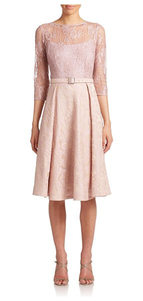 Teri Jon Sequined lace & satin dress in blush - Shimmering sequins are sprinkled upon the lace bodice of...