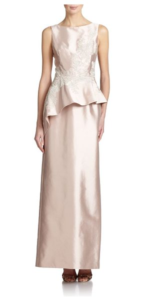 Teri Jon Silk satin peplum gown in blush - Delicate metallic lace frosts this graceful satin column...