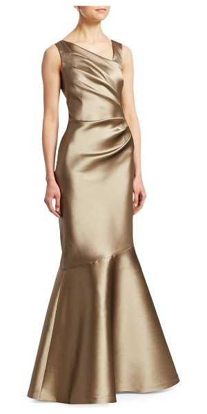 Teri Jon stretch taffeta mermaid gown in gold - Stunning taffeta gown with gathered detailing...