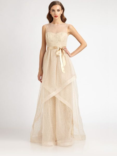Teri Jon Swiss dot tulle gown in champagne - Sweet, ethereal Swiss dot tulle, accented with a satin...