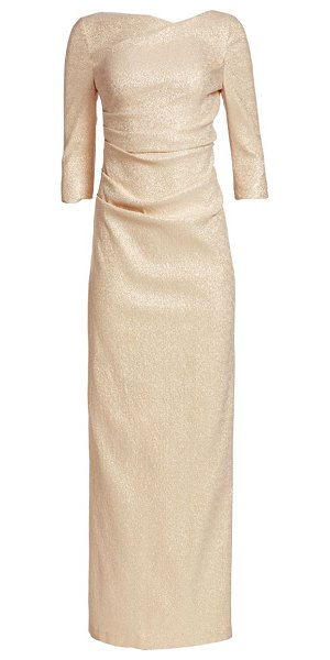 Teri Jon three-quarter sleeve stretch metallic ruched gown in gold