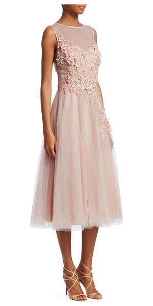 Teri Jon tulle applique a-line dress in blush - Floral applique adds deluxe craftsmanship to tulle...