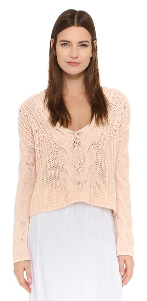 Tess Giberson Exaggerated cable v neck sweater in bauhaus pink - A soft, cable knit Tess Giberson crop top with a cozy...