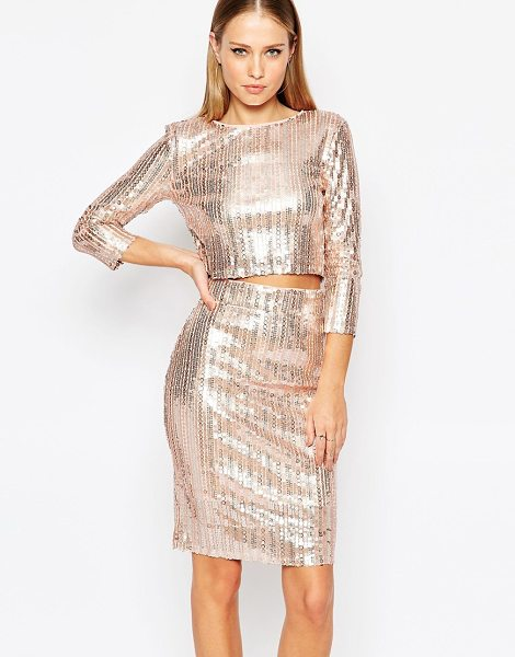 TFNC All Over Sequin Crop Top with Long Sleeves in pink - Top by TFNC, Sequin embellished fabric, Round neckline,...