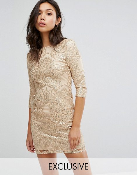 "TFNC allover sequin dress with scalloped open back in gold - """"Dress by TFNC, Sequin-embellished fabric, High neck,..."