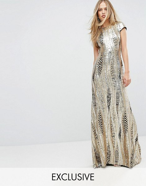 "TFNC Allover Sequin Maxi Dress in gold - """"Maxi dress by TFNC, Sequin-embellished fabric, High..."