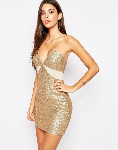 TFNC Allover Sequin Mini Dress with Cut Out Mesh Details in gold - Party dress by TFNC, Sequin embellished fabric, Deep...