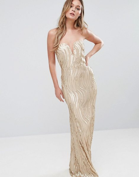 "TFNC Bandeau Maxi Dress In Wave Sequin in gold - """"Maxi dress by TFNC, Lined stretch fabric, All-over..."