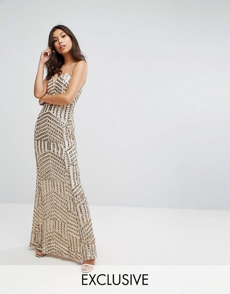 "TFNC bandeau sequin maxi dress in rosegold - """"Maxi dress by TFNC, Embellished woven fabric,..."