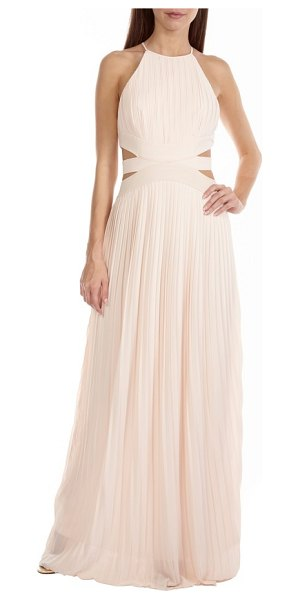 TFNC boston cutout maxi dress in nude - Delicate waist cutouts draw attention on this pleated...