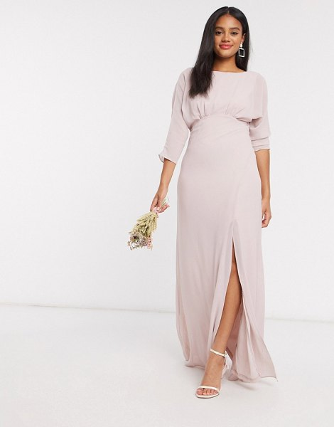 TFNC bridesmaid cowl back maxi dress with kimono sleeve in pink in pink