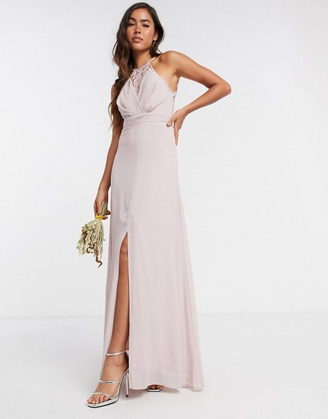TFNC bridesmaid wrap lace maxi dress in pink in pink