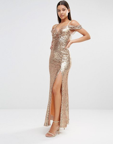 TFNC Cold Shoulder Sequin Maxi Dress in gold - Maxi dress by TFNC, Sequin embellished fabric, Lined...