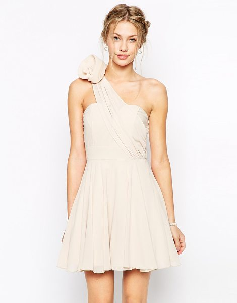 TFNC prom one shoulder dress with corsage detail in nude - Evening dress by TFNC, Silky-lined chiffon, Bandeau...