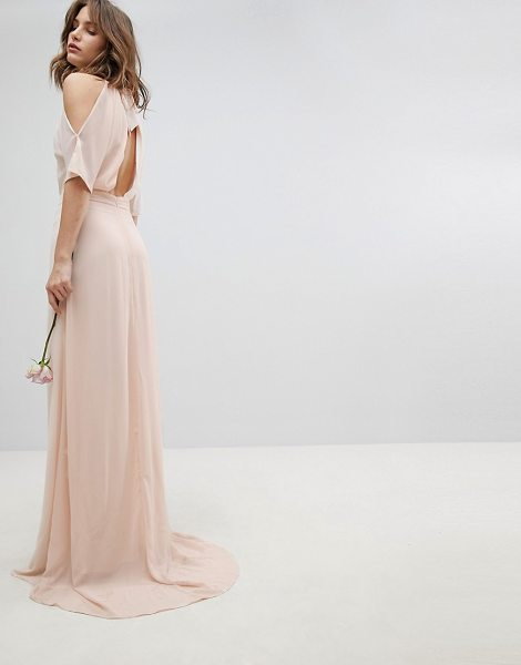 TFNC high neck maxi bridesmaid dress with fishtail in nude - Dress by TFNC, High neck, Cold-shoulder cut, Nothing to...
