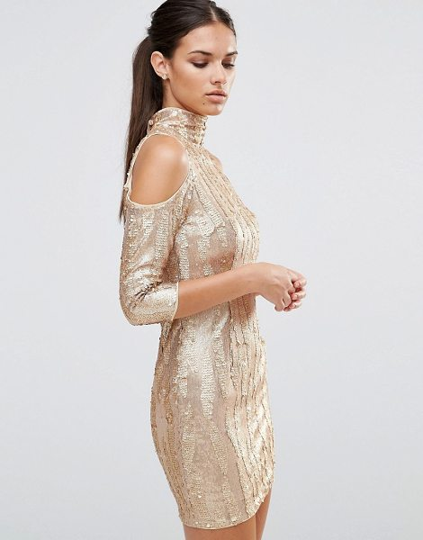 TFNC high neck sequin mini dress with cold shoulder in gold - Dress by TFNC, High neck, Cold-shoulder cut, Nothing to...