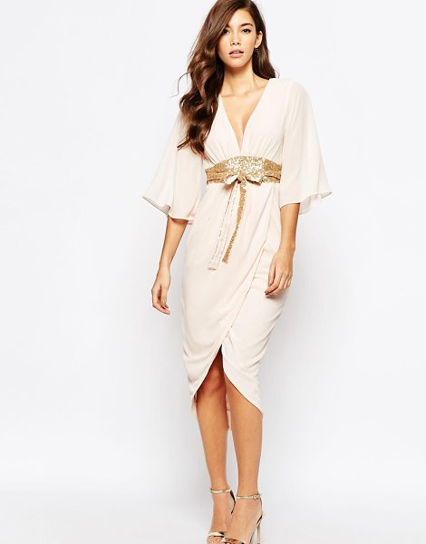 TFNC Kimono sleeve chiffon dress with sequin obi belt in nudegold - Dress by TFNC Semi-sheer chiffon Fully lined Plunge...