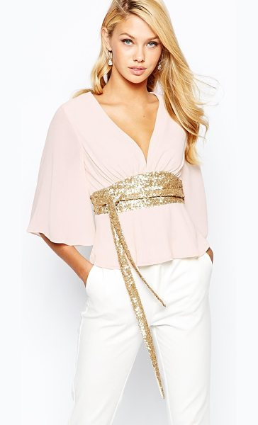 TFNC Kimono sleeve top with sequin obi belt in nudegold - Top by TFNC Lightweight woven fabric Semi-sheer finish...