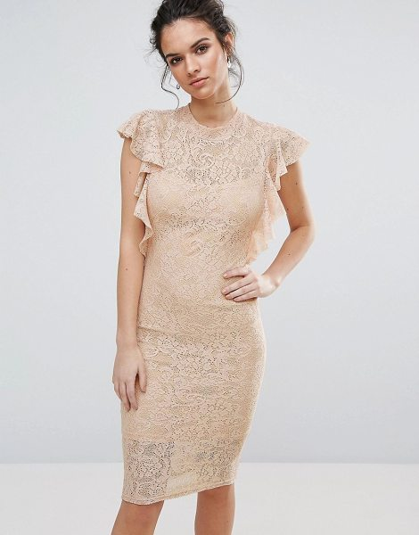 TFNC Lace Midi Dress with Frill Detail in pink - Midi dress by TFNC, Lined lace, Crew neckline, Frill...