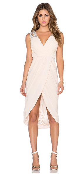 TFNC Deborah midi dress in blush - 100% poly. Hand wash cold. Fully lined. Exposed back...